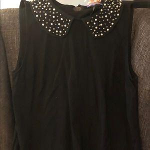 Black mini cotton dress w/ bling peter pan collar